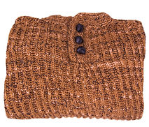 Knit brown fisherman's sweater with leather knot buttons, adult size