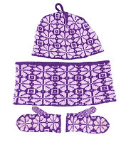 Kids Knit purple/white patterned hat, cowl, and mitten set