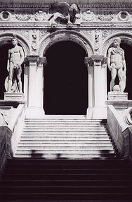 Black and White film pic of stairs and entrance at St. Marks Basilica in Venice, Italy