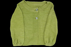 Knit Pea Green sweater with art deco buttons, adult size