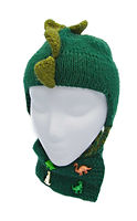 Knit green dinosaur kids hat and scarg with spikes and dinosaur buttons