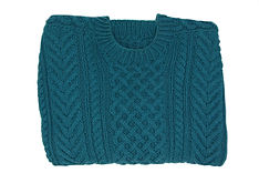 Knit slate blue sweater with extensive pattern, adult size