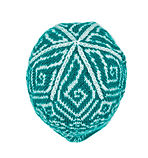 Knit Adult turquois/white toque hat