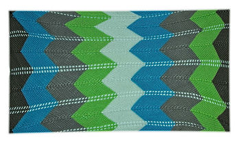 Knit kids sized brown, blue, grey, green, and white blanket