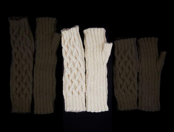 White Fingerless Gloves-Medium