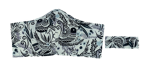 Whimsical Birds Fitted Mask