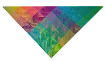 Knit kids sized rainbow colored, square patterned blanket
