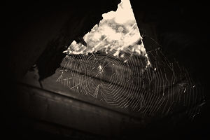 A black and white photo of a spider's web in an abandoned building being lit from behind by the sun.