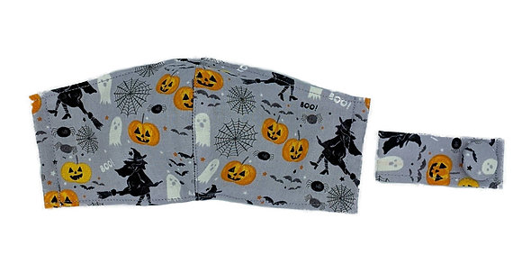 Witches, Ghosts & Pumpkins Fitted Mask