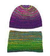 Knit kids variable color hat and cowl set