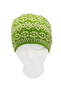 Knit adult green/white pattern toque hat