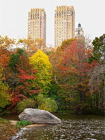 View of The Dakota on Central Park West and The Lake from Central Park, New York City in Autum