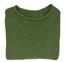 Knit Green rolled neck cashmere sweater, adult size