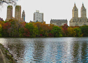 View of Central Park West and The Lake in Central Park, New York City in Autum