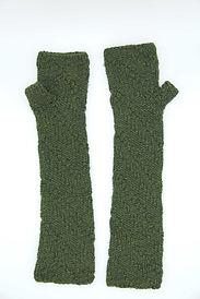 Knit Green Fingerless Opera-length gloves