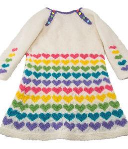 Knit kids heart wool dress with heart buttons, size 3T