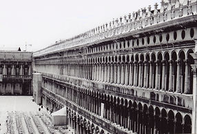 Black and White film pic of St. Marks Square from St. Marks Basilica in Venice, Italy