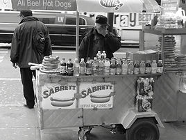Black and white pic of a New York City Hot Dog Street Vendor
