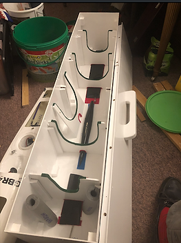 Boat box with frames locking fins in pla