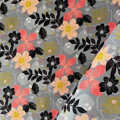 Kuschelsweat Big Flowers Grey