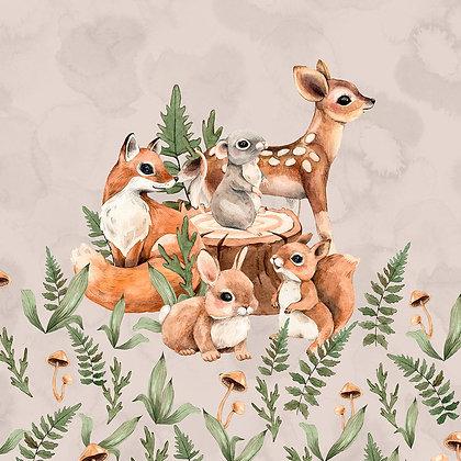 Sommersweat Panel Waldtierkinder beige