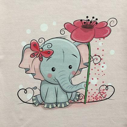 Sommersweat Panel Elefant mit Blume