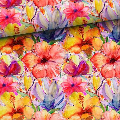 Reststück Sommersweat Bunte Blumen