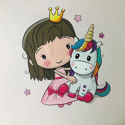 Jersey Panel kleine Prinzessin mit Einhorn