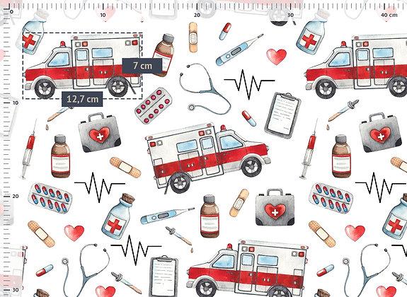 Baumwollstoff/ Webware Krankenwagen