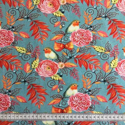 Jersey Rotkehlchen/Vogel mit Blumen & Blätter