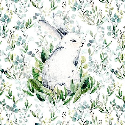 Sommersweat Panel Kaninchen auf Eukulyptus