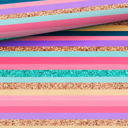 Sommersweat Glitzerstreifen Rosa/Mint/Gold/gelb