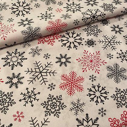 Baumwollstoff / Webware Weihnachtssterne Rot/Weiß
