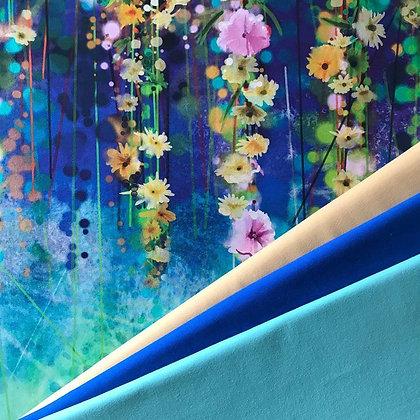 Sommersweat Panel Gelbe hängende Blumen