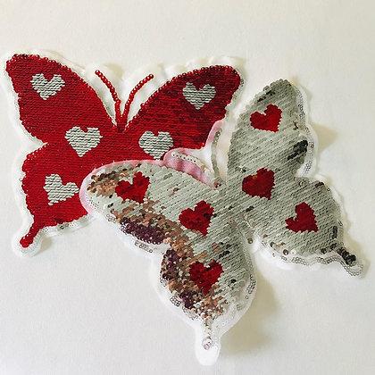 Wendepailletten Schmetterling Rot/Silber