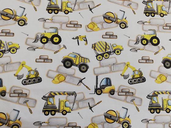 Reststück Jersey gelbe Baufahrzeuge