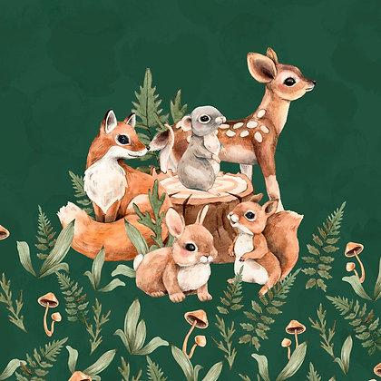 Sommersweat Panel Waldtierkinder grün