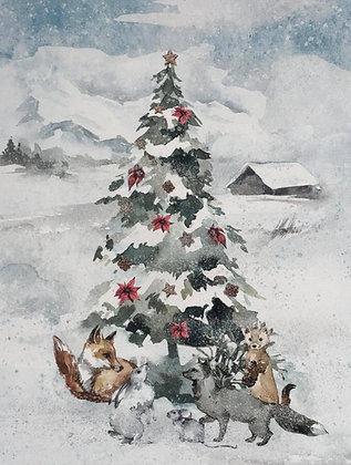 Panel Baumwollstoff/ Webware Legenden des Winterwaldes Weihnachtsbaum