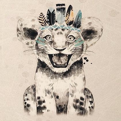 Sommersweat Panel Leopard Boho Mint