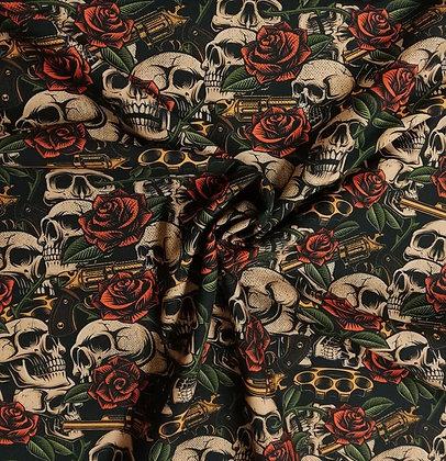 Baumwollstoff/ Webware Skulls, Roses & Guns