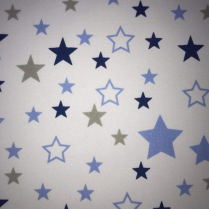 Reststück Baumwollstoff / Webware Sterne Blau