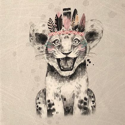 Sommersweat Panel Leopard Boho Rosa