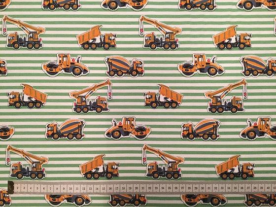 Reststück Jersey Baufahrzeuge/Bagger auf grüne Streifen