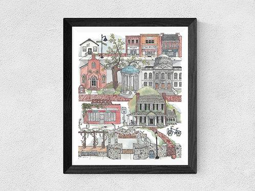 Chapel Hill, NC watercolor print
