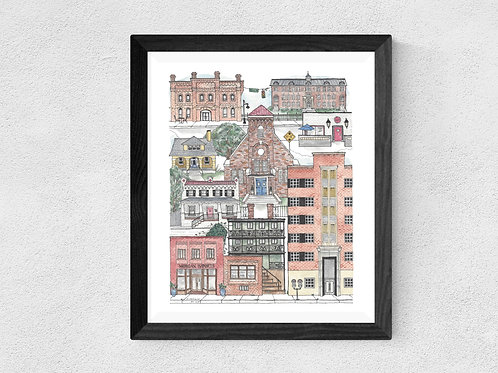 Durham, NC Brightleaf Square watercolor print