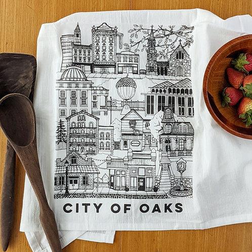 City of Oaks (Raleigh) cotton tea towel