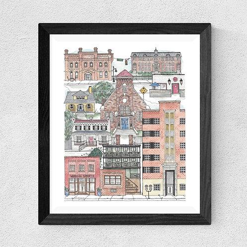Durham, NC Brightleaf Square watercolor print