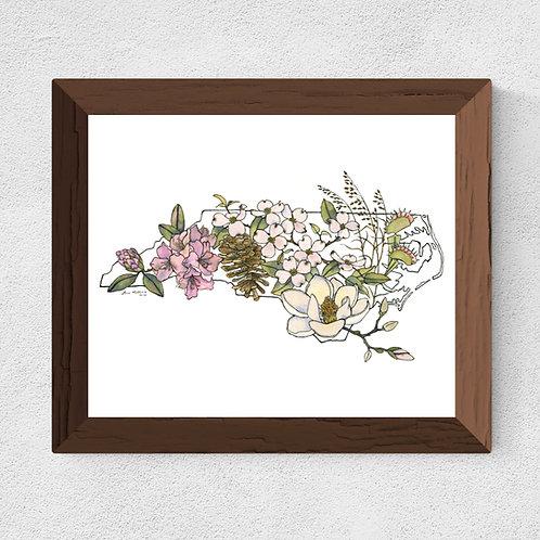 North Carolina Flowers watercolor print