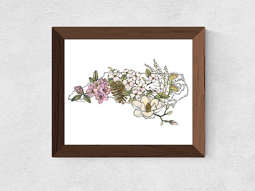 North Carolina Flowers watercolor print