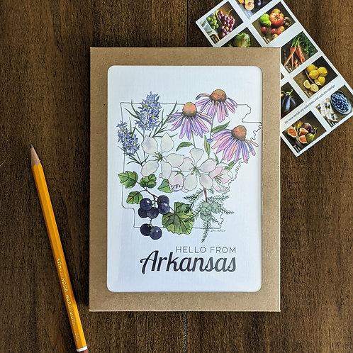 Arkansas Flowers greeting card + packs